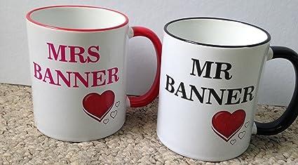 Tazas personalizable boda, aniversario tazas, diseño de novia y novio y de la,