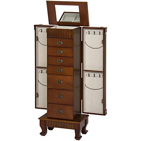 Best Choice Products Wood Jewelry Armoire Cabinet Chest Organizer  Brown