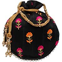 Milan's Creation : Designer Floral Embroidered Potli Bag With Pearls Handle Party Purse Women's Handbag Wedding Gift