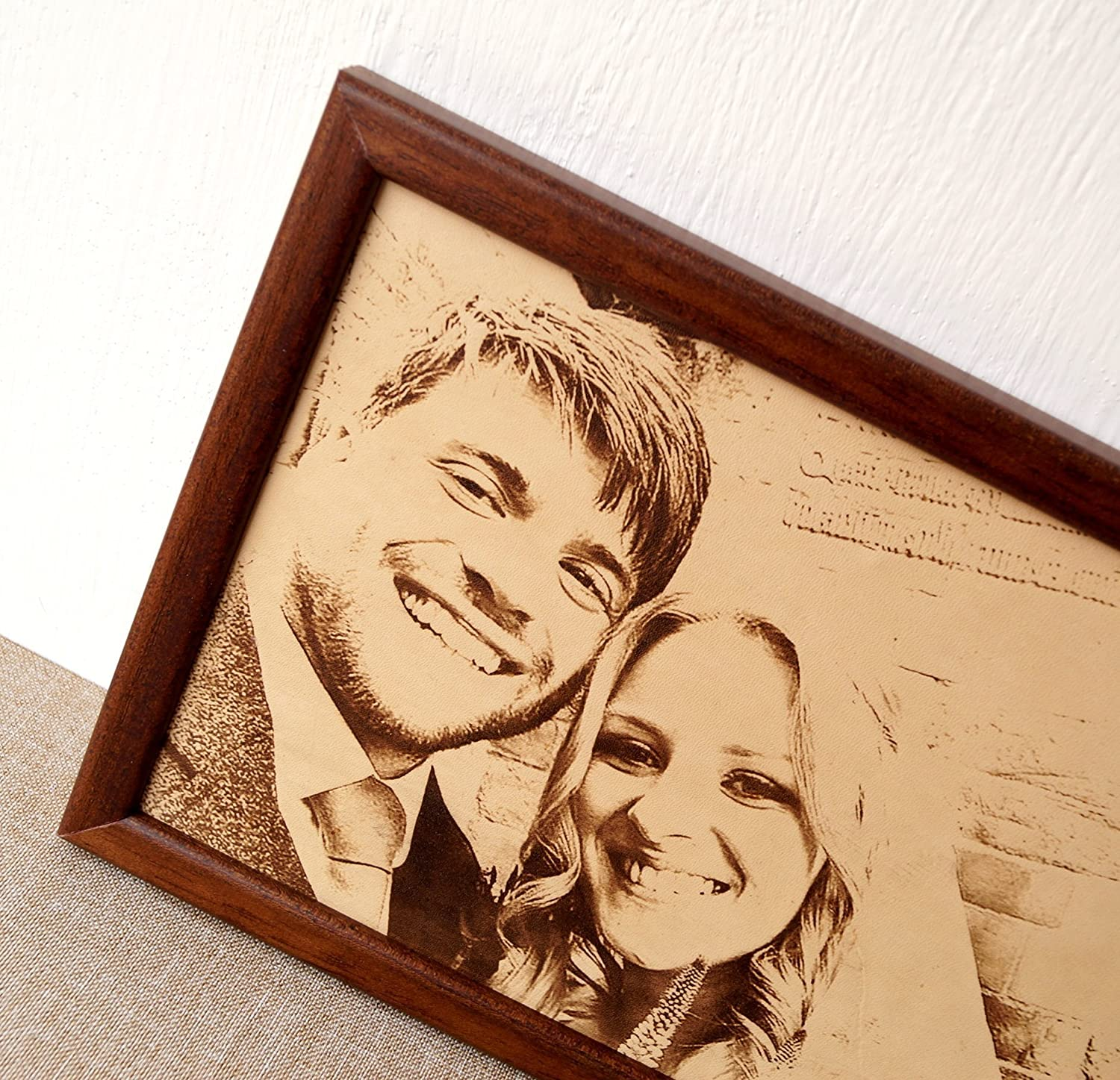 3rd wedding anniversary gift idea, custom engraved framed picture, unique giftLeather photograph, engraved picture on real leather
