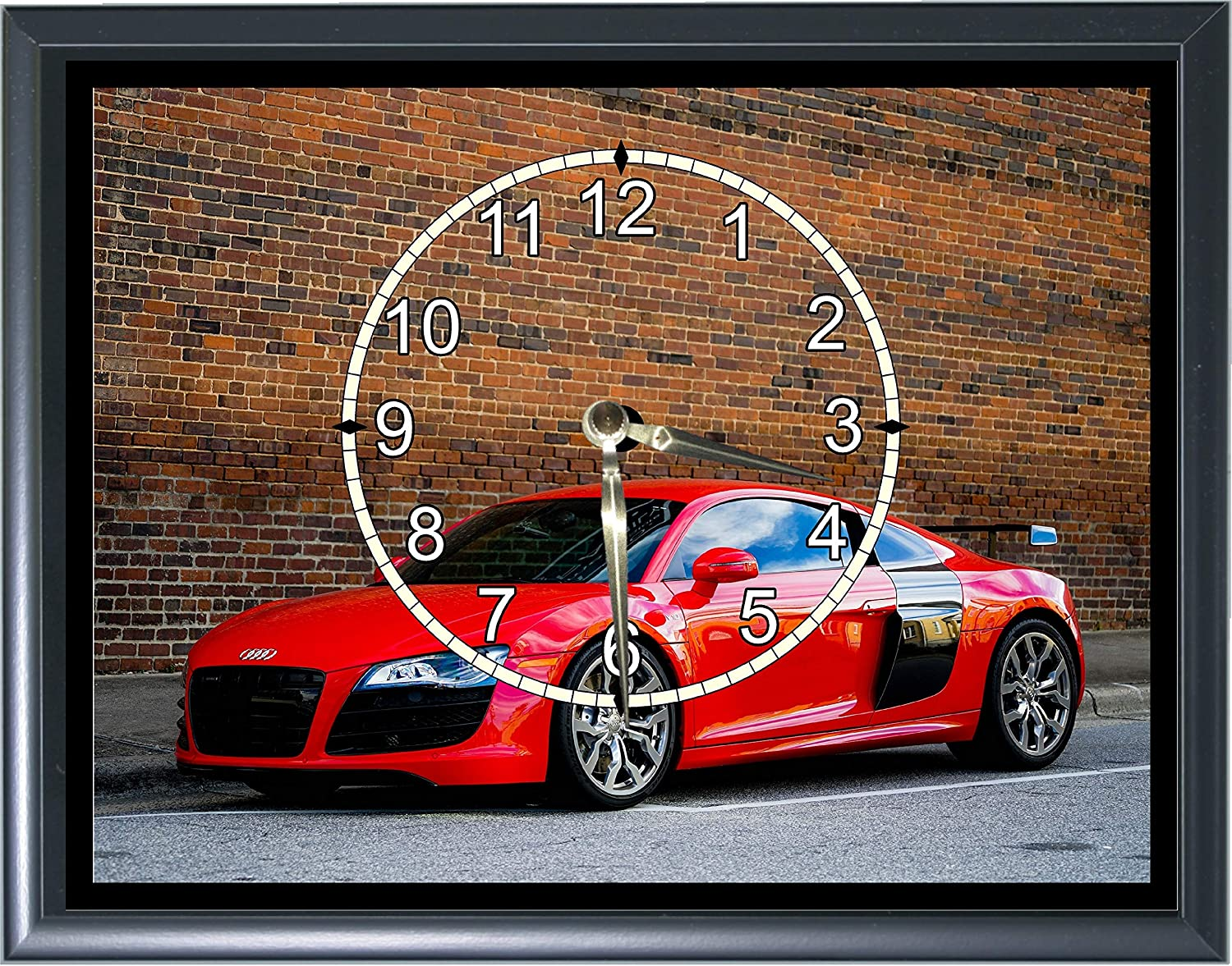 Audi R8 Desk or Wall Plaque Clock 7x 9 with Photo Realistic Picture