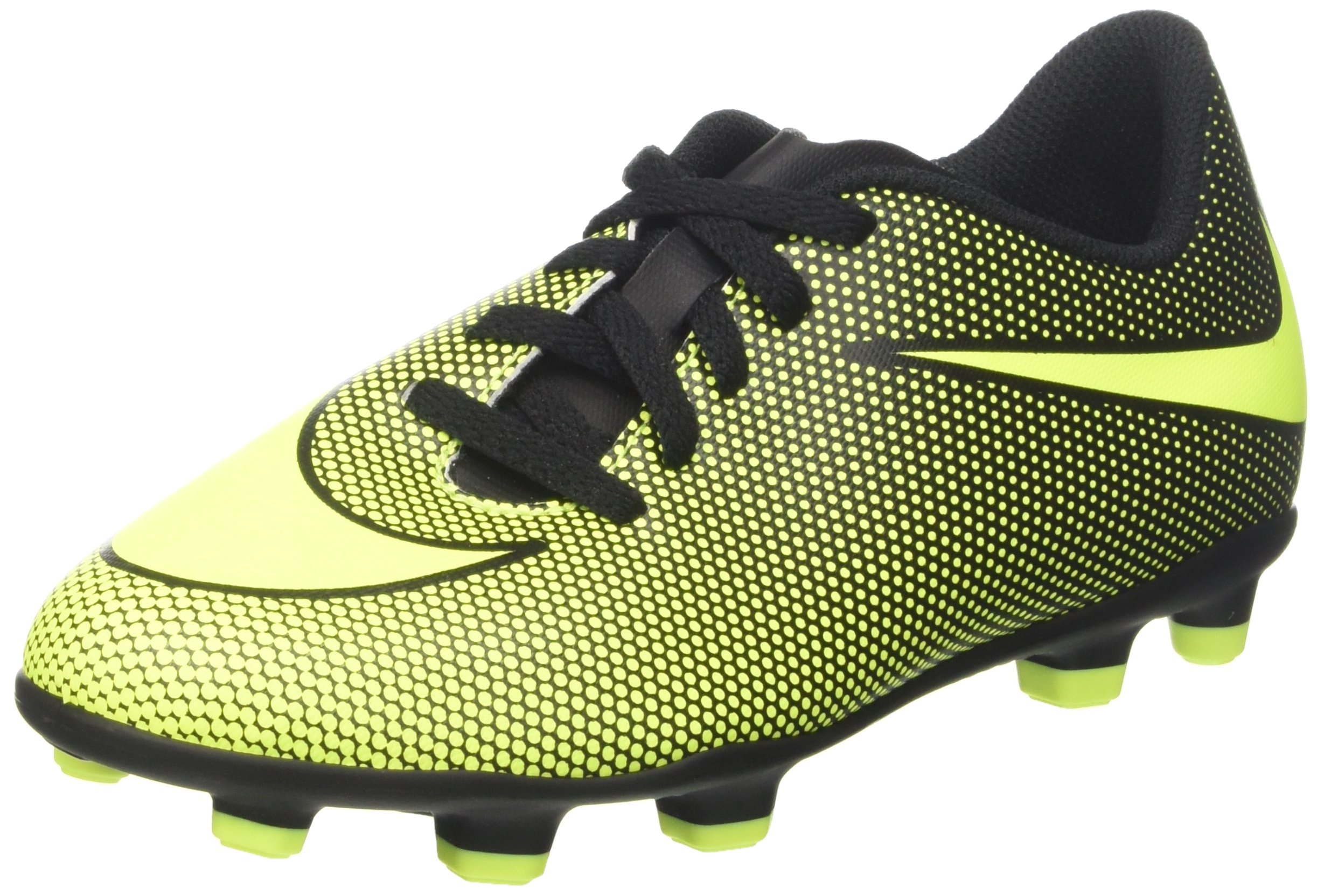 NIKE Boy's JR Bravata II FG Soccer Cleats (2.5 Little Kid M, Black/Volt) by NIKE