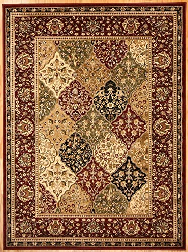 Feraghan New City Traditional Panel Red Wool Persian Area Rug, 8 x 10 , Burgundy