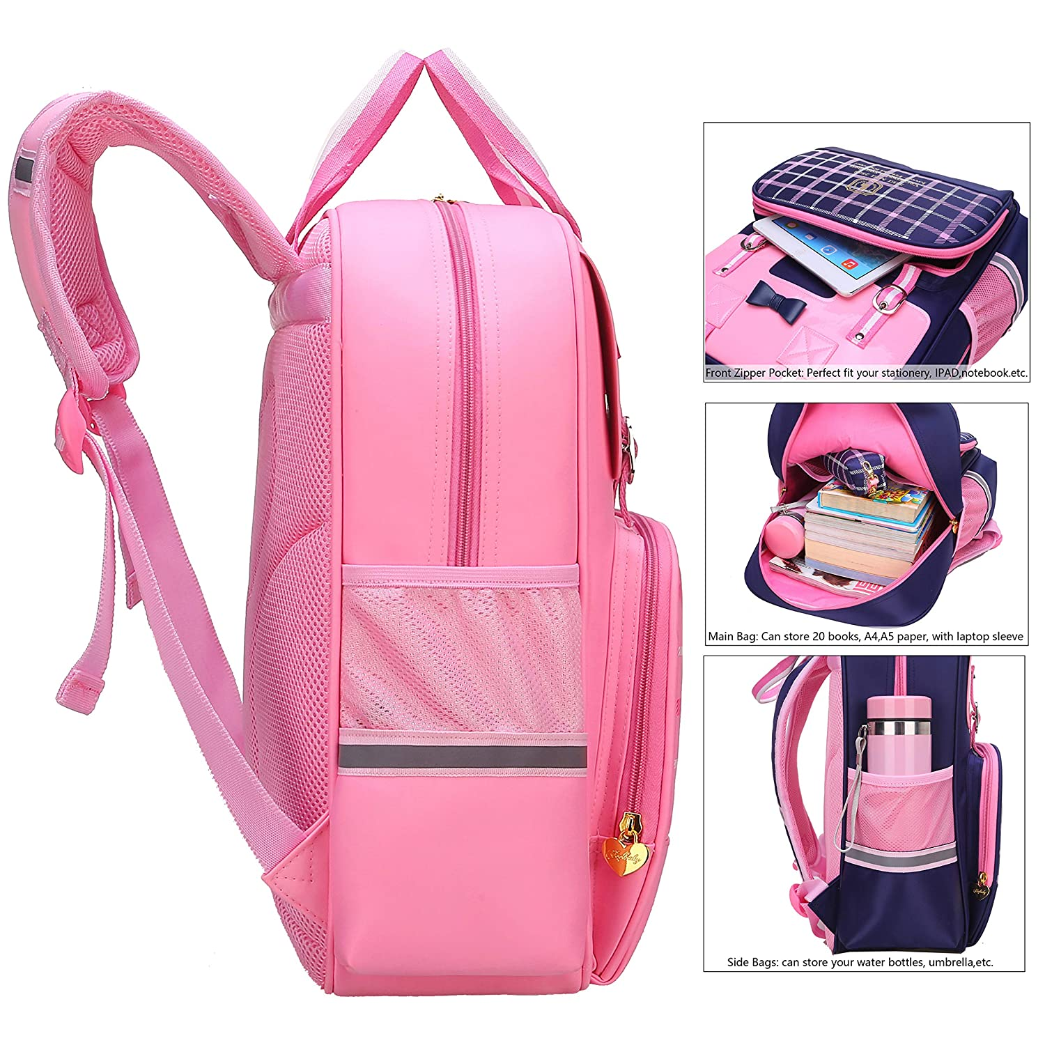 Amazon.com | Gazigo Reflective Girls Cute School Backpack PU Leather Kids Bookbag Satchel (S:14.9