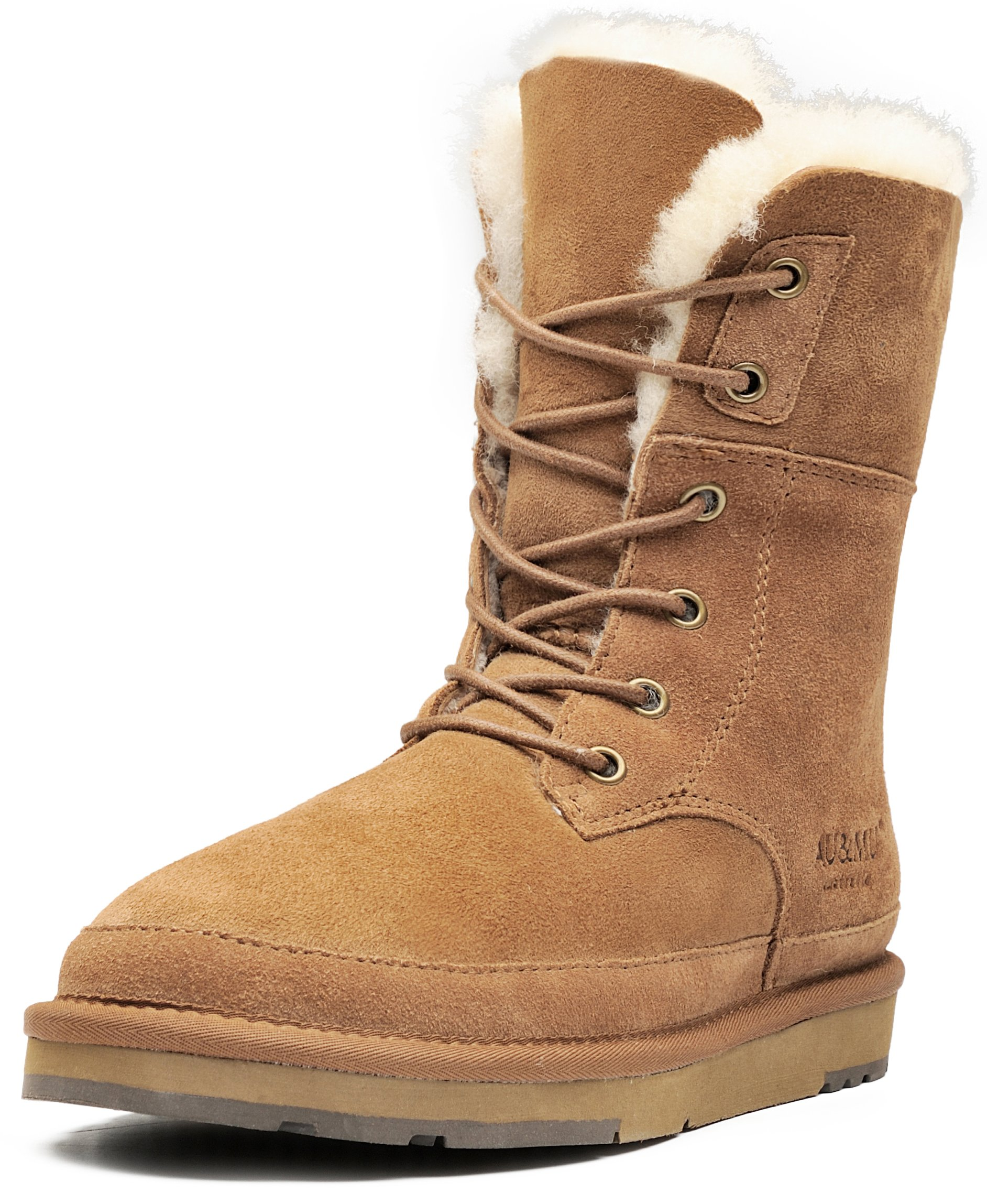 Aumu Womens Leather Sheepskin Classic Lace up Mid Calf Flat Fur Winter Snow Boot Chestnut Size 7 by AU&MU
