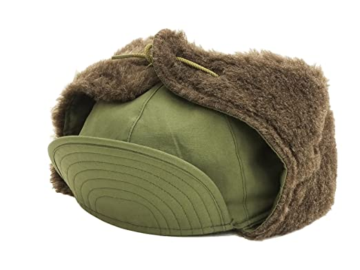 b06ec1321db07 Buzz rickson s Men s Military Cap with Fur Ear Flaps M-1951 Pile Field Hat  BR02538