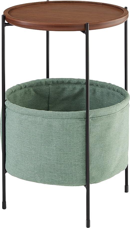 Marca Amazon - Rivet Meeks - Mesa auxiliar redonda con cesto para ...