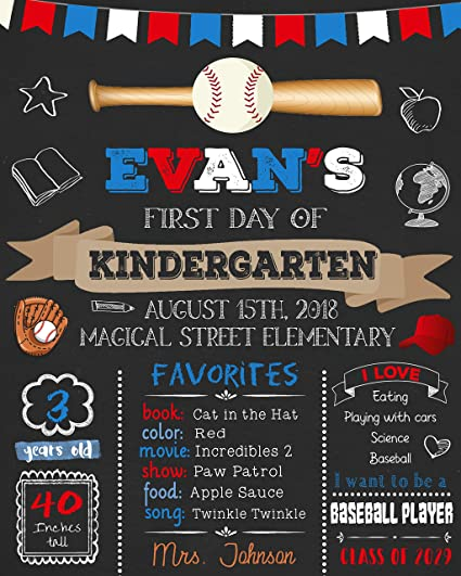 Amazon com: Dozili Personalized Baseball First Day of School Sign
