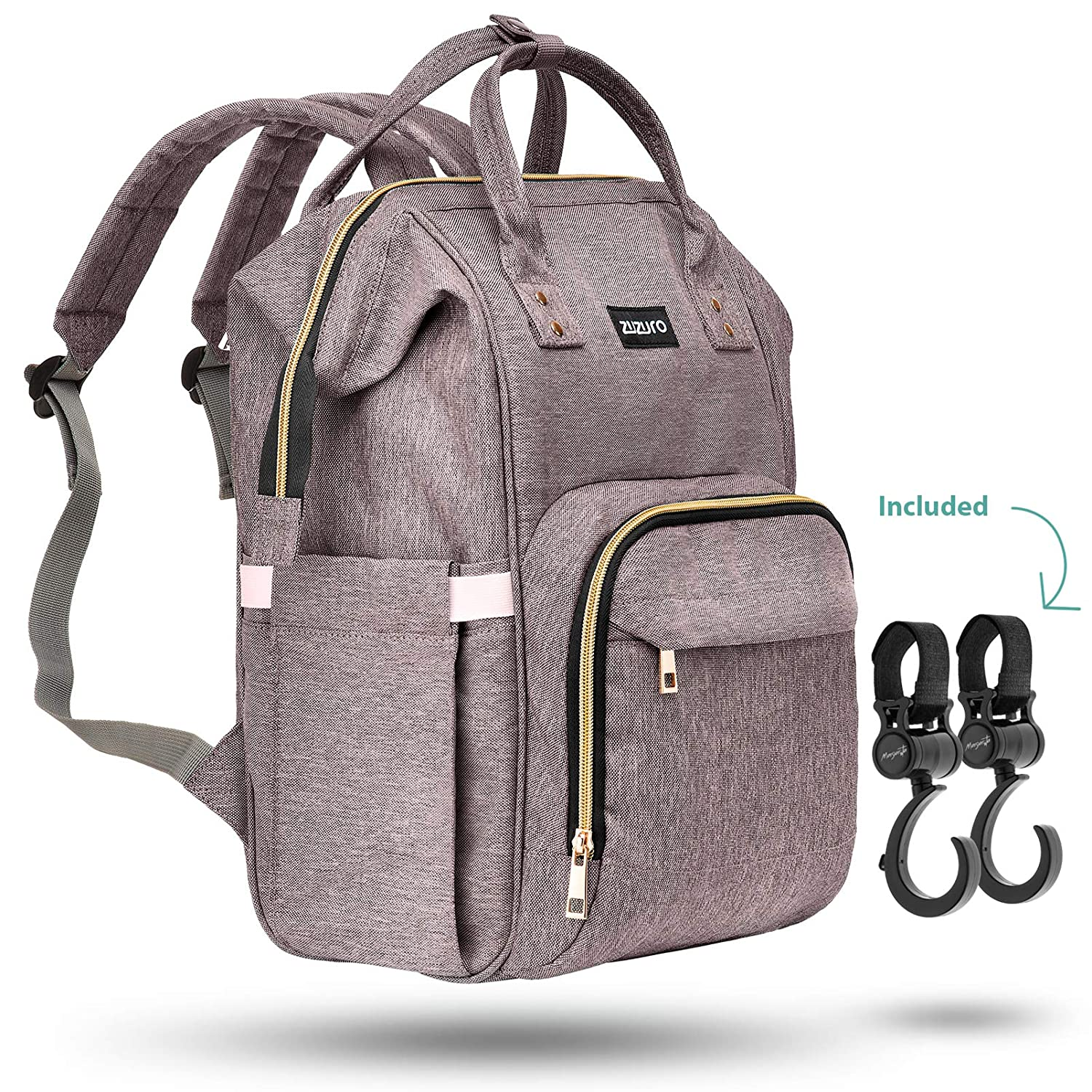Zuzuro Diaper Bag - Baby Bag - Waterproof Backpack w/Large Capacity & Multiple Pockets for Organization. Ideal for Travel Nappy Bags - W/Insulated Bottle Pocket. 2 Stroller Hooks Incl. (Silver Gray)
