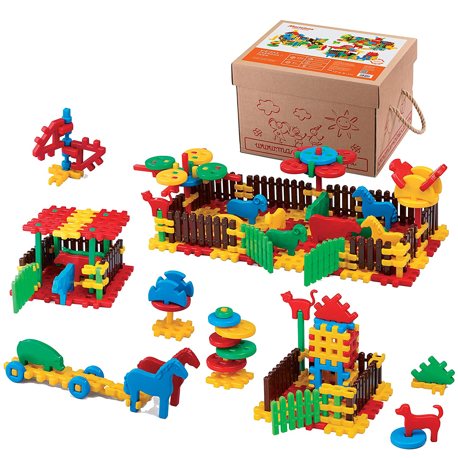 ECR4Kids Farm Waffle BlocksConstruction Set | 240 Piece Value Pack | Interlocking Building Blocks with Animal Figures and Learning Guide | Creative STEM Sensory Toy for Kids, Multicolor (240 Pieces)