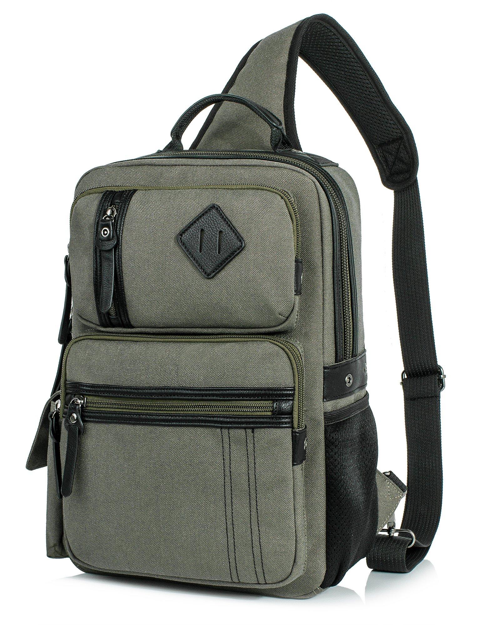 Messenger Bag for Men, Cross Body Shoulder Sling Bag Travel Outdoor Gym Backpack Army green 2