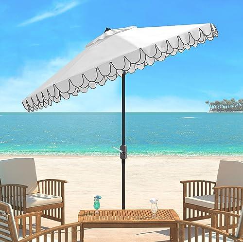 Safavieh PAT8006E Outdoor Collection Elegant White and Black Valance 9Ft Auto Tilt Umbrella