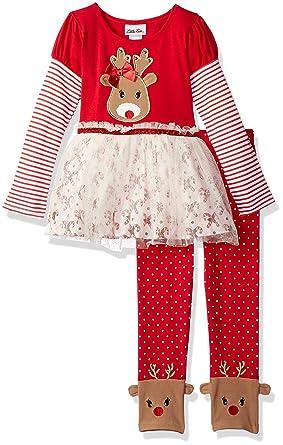 8960be1f17e0b Amazon.com: Little Lass Girls' 2 Pc Reindeer Legging Set: Clothing