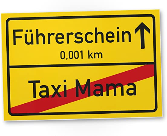 Dankedir Führerschein Taxi Mama Kunststoff Schild Ortsschild Geschenk Bestandenen Führerscheinprüfung Fahrprüfung Führerscheinneulinge