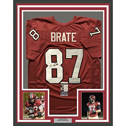 5109c491b Image Unavailable. Image not available for. Color: Framed Autographed/Signed  Cameron Brate 33x42 Harvard Crimson Red College Football Jersey JSA COA