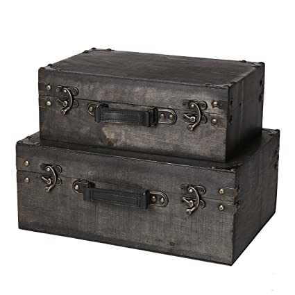 slpr jackson wooden trunk with straps set of 2 grey wood old fashioned antique vintage style nesting trunks for shelf home decor birthday parties rh amazon com