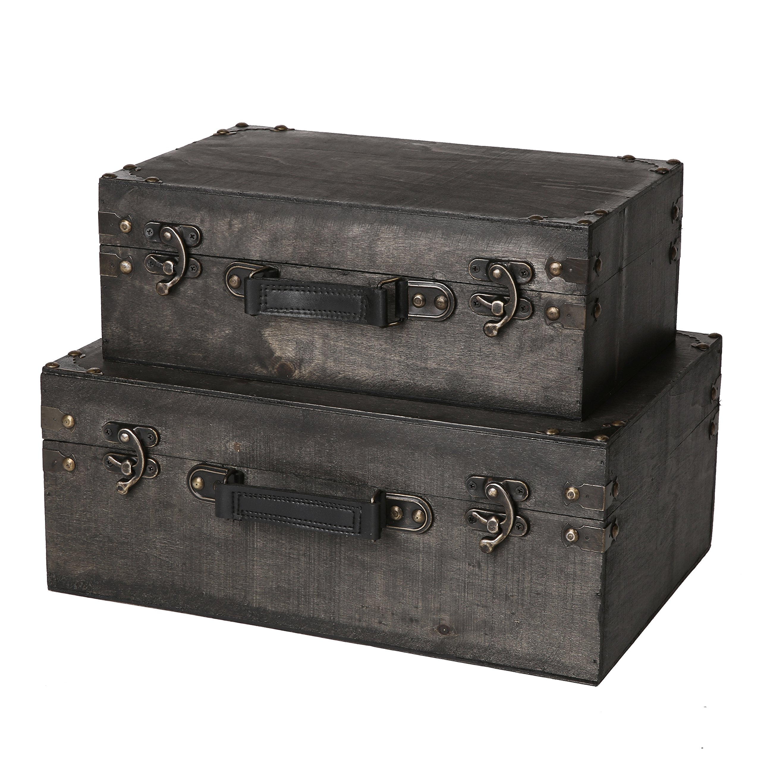 SLPR Jackson Wooden Trunk with Straps (Set of 2, Grey Wood) | Old-Fashioned Antique Vintage Style Nesting Trunks for Shelf Home Decor Birthday Parties Wedding Decoration Displays Crafts