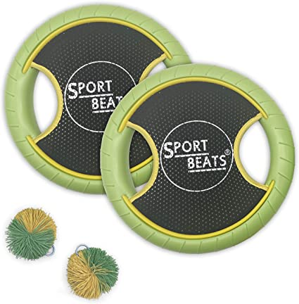 SPORT BEATS Outdoor Bouce-Back Trampoline Paddle Ball Game Set for 2 Player 1 Ball Included