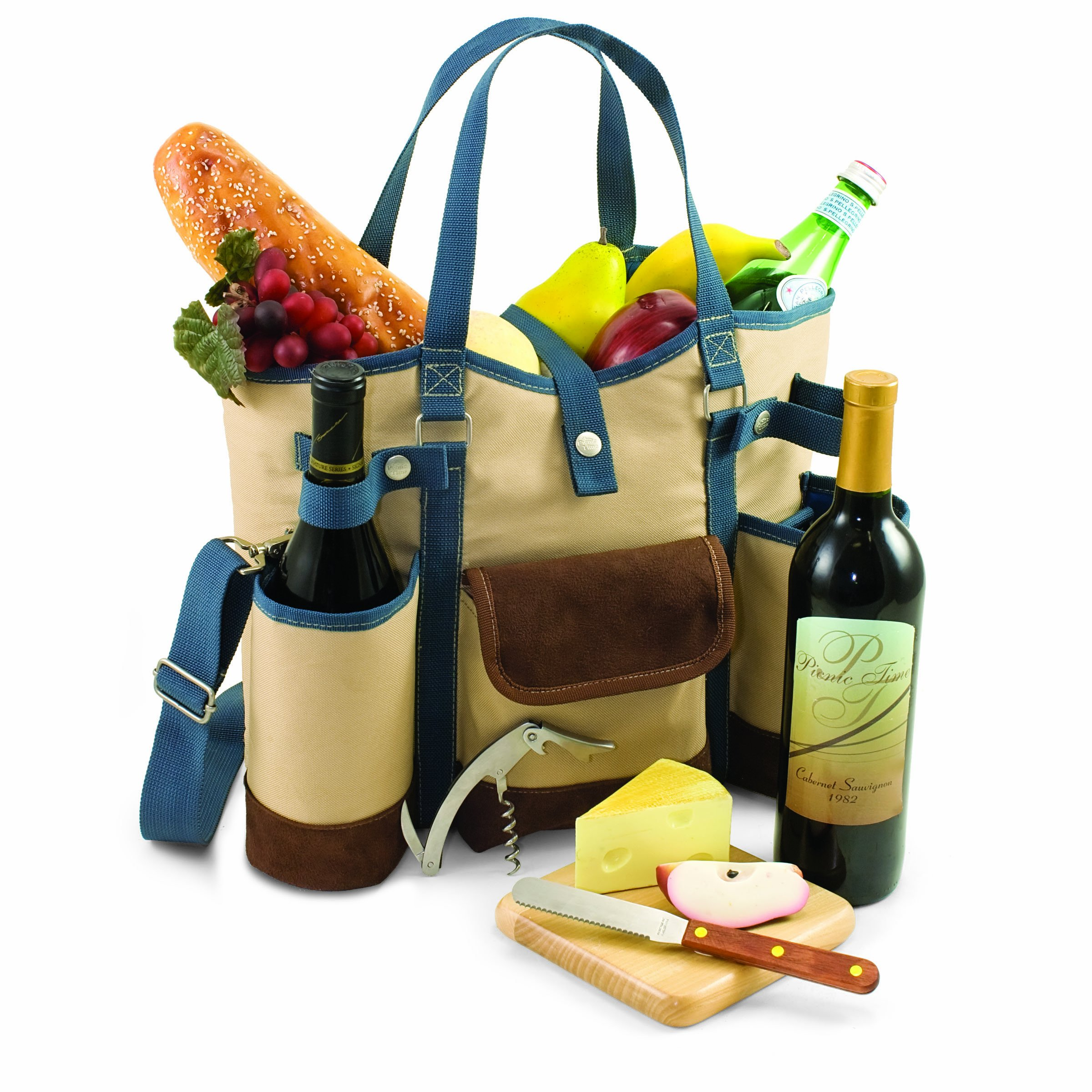 LEGACY - a Picnic Time Brand Wine Country Tote with Cheese Service and Corkscrew, Tan/Blue