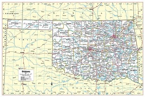 Amazon.com : Cool Owl Maps Oklahoma State Wall Map Poster ... on