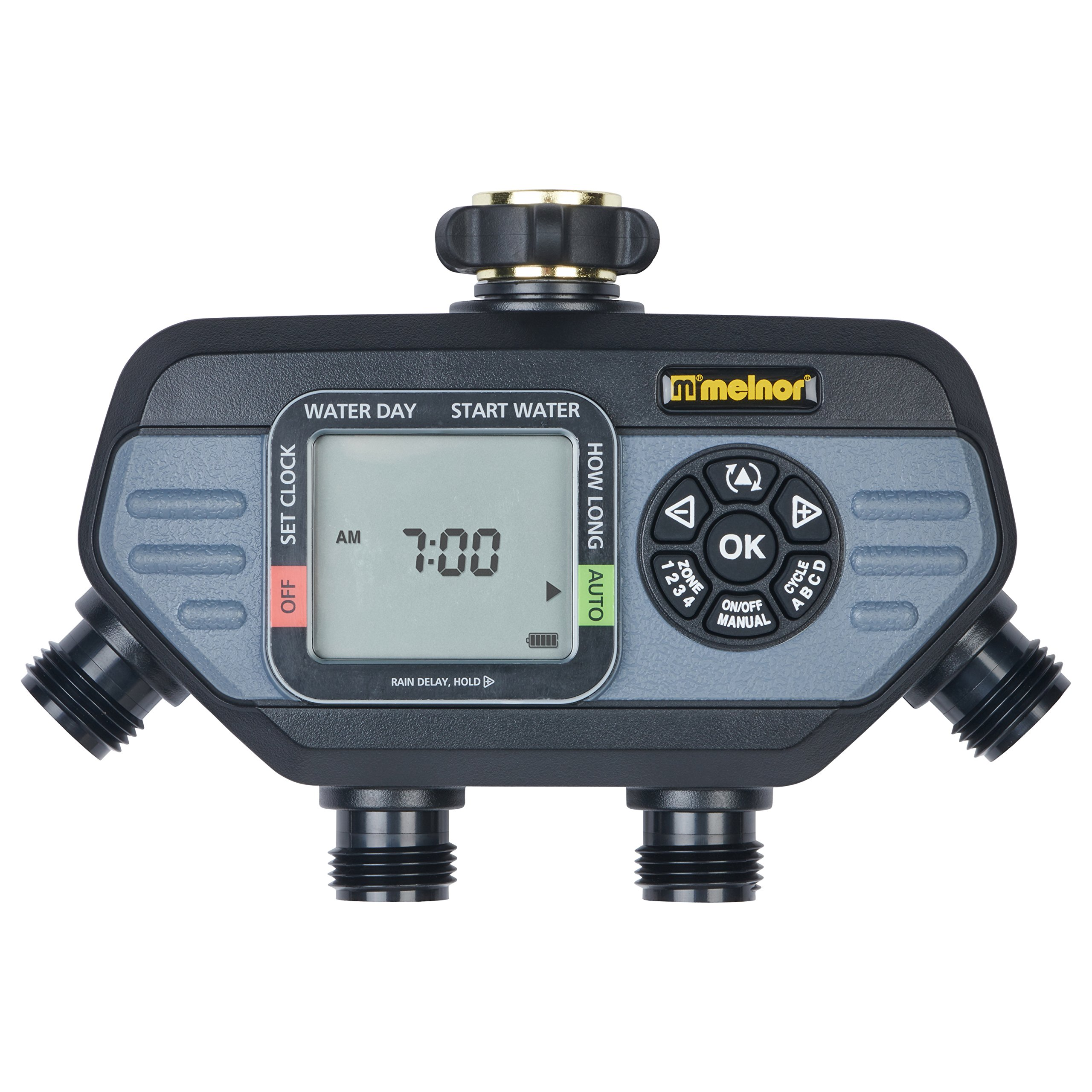 Melnor Advanced Functions 4-Outlet Digital Water Timer 4 Independent Cycles Individual Days of Week for Each Valve, 4 Zone