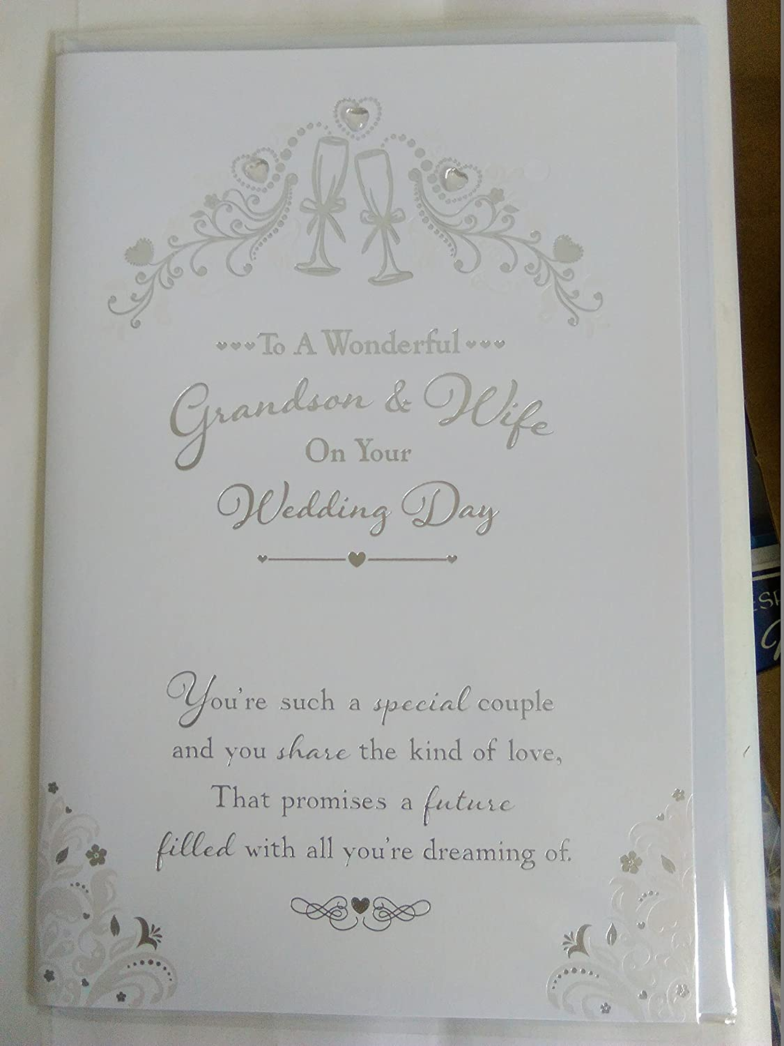 To A Wonderful Grandson & Wife On Your Wedding Day Card White/Silver Words Foil/Gems Detail BGC Studios