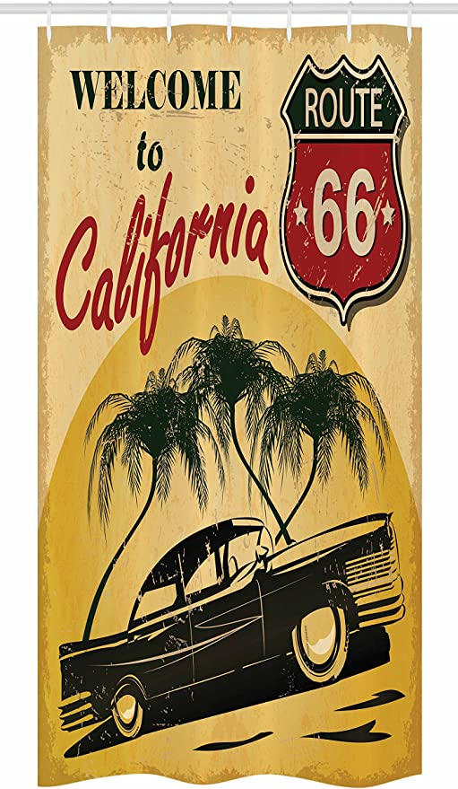 Retro Welcome to California Hollywood Pop Art Style Print Shower Curtain Set