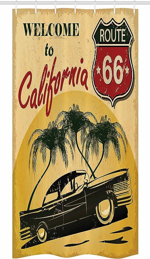 Retro Shower Curtain California Advertising Print for Bathroom