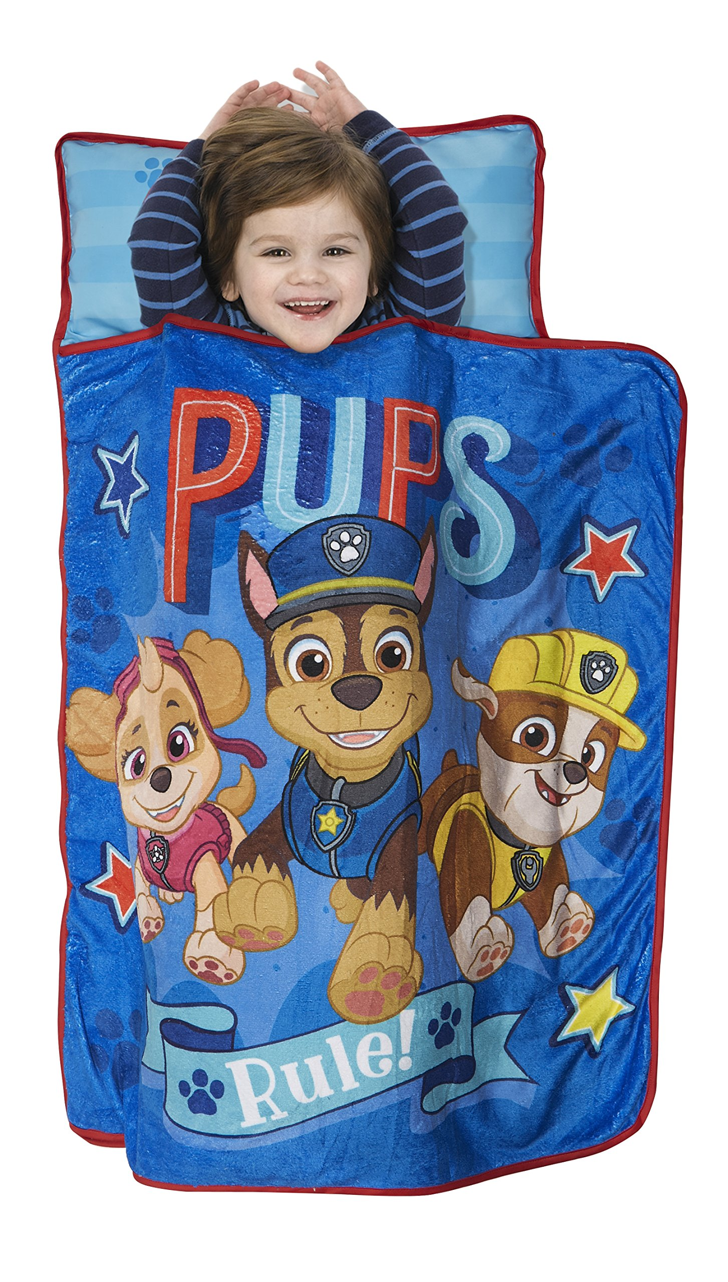 Paw Patrol Pups Rule Toddler Nap Mat - Includes Pillow & Fleece Blanket – Great for Boys and Girls Napping at Daycare, Preschool, Or Kindergarten - Fits Sleeping Toddlers and Young Children