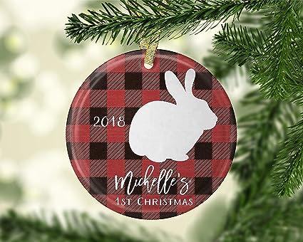 Buffalo Check Christmas Ornaments.Amazon Com 659parkerrob Bunny Ornament Rabbit Ornament Red
