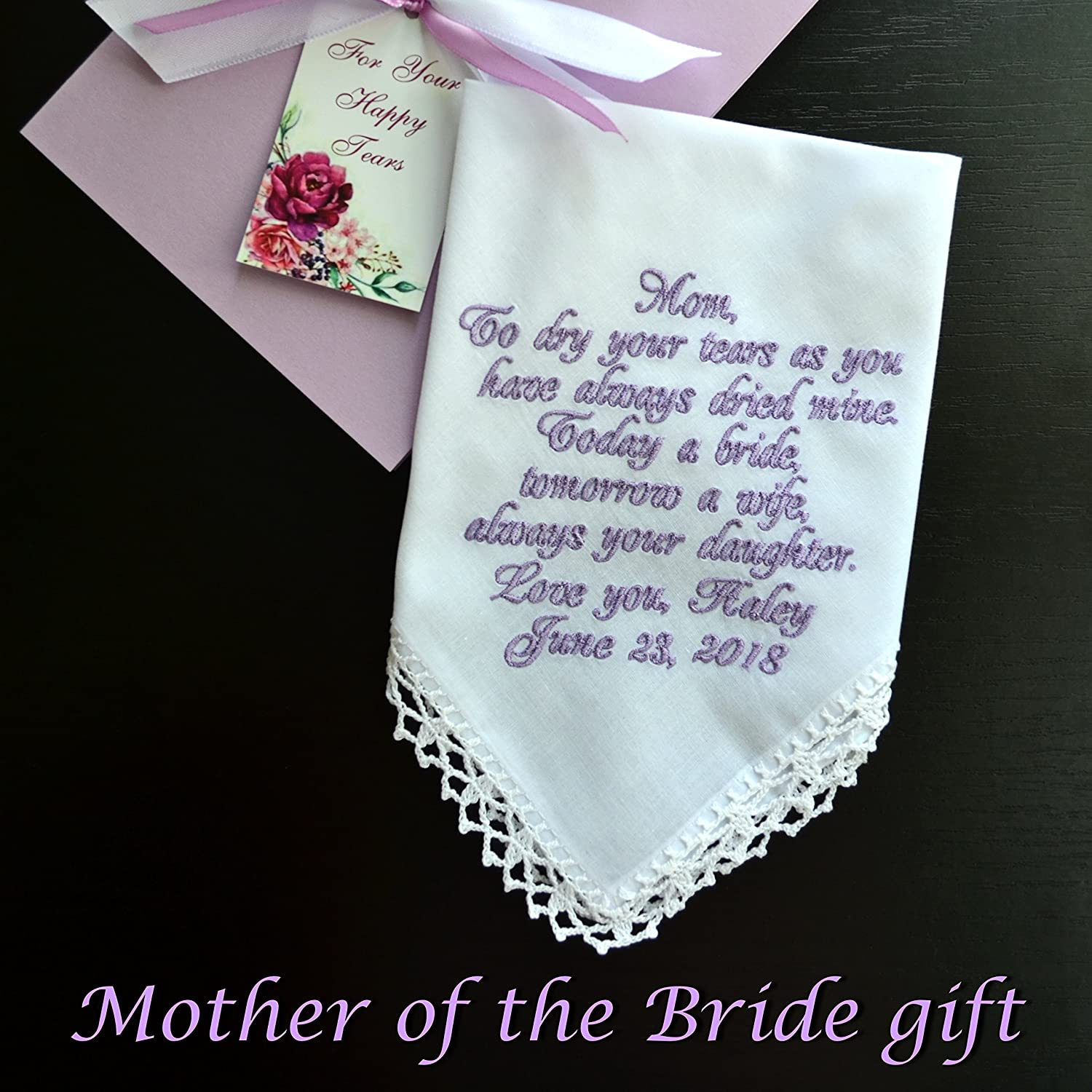 MOTHER FATHER OF THE BRIDE WEDDING GIFT PERSONALISED HANDKERCHIEF HANKIE