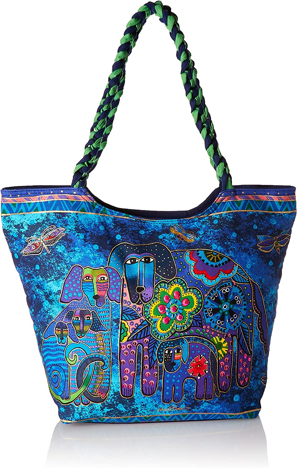 Laurel Burch Scoop Tote Zipper Top, 19-Inch by 5-Inch by 14-Inch, Canine Family