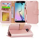 Arae Case Compatible for Samsung Galaxy S6 - [Wrist Strap] Flip Folio [Kickstand Feature] PU Leather Wallet case with ID…