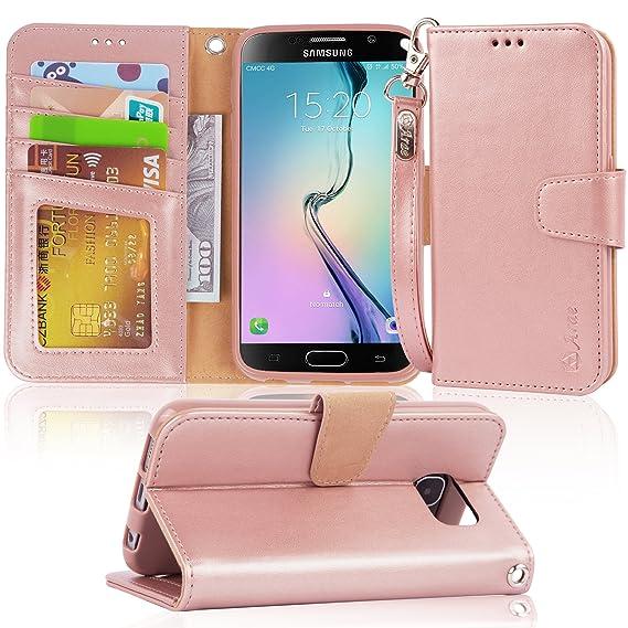 amazon com s6 case, arae samsung galaxy s6 wallet case,[wrist strap