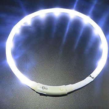 Collar LED para perro, LaiXin intermitente LED collar de perro en silicona impermeable USB recargable