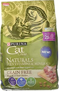 Purina Cat Chow Naturals Plus Vitamins & Minerals Grain Free Made with Real Chicken (1-3.15 lb Bag), Brown