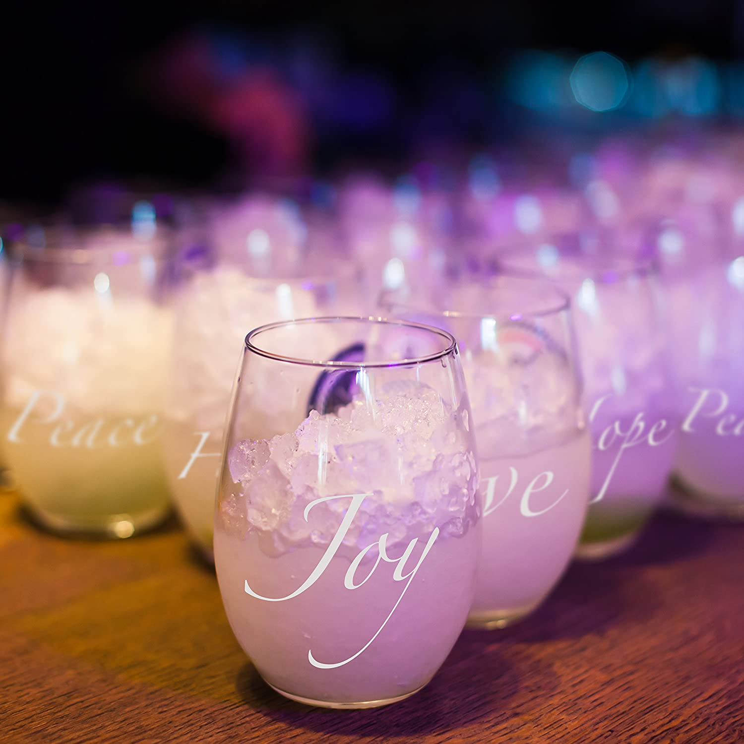 Amazon.com | Plastic Stemless Wine Glasses With Words - Set of 4 ...