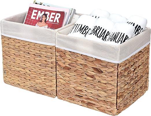 Natural 2-Pack StorageWorks Metal Storage Baskets For Shelves With Frame Cutton Rectangle Storage Bins Large