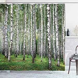 "Ambesonne Landscape Shower Curtain, Autumn Trees in Birch Forest September Time View Landscape Picture, Cloth Fabric Bathroom Decor Set with Hooks, 84"" Long Extra, White Black"