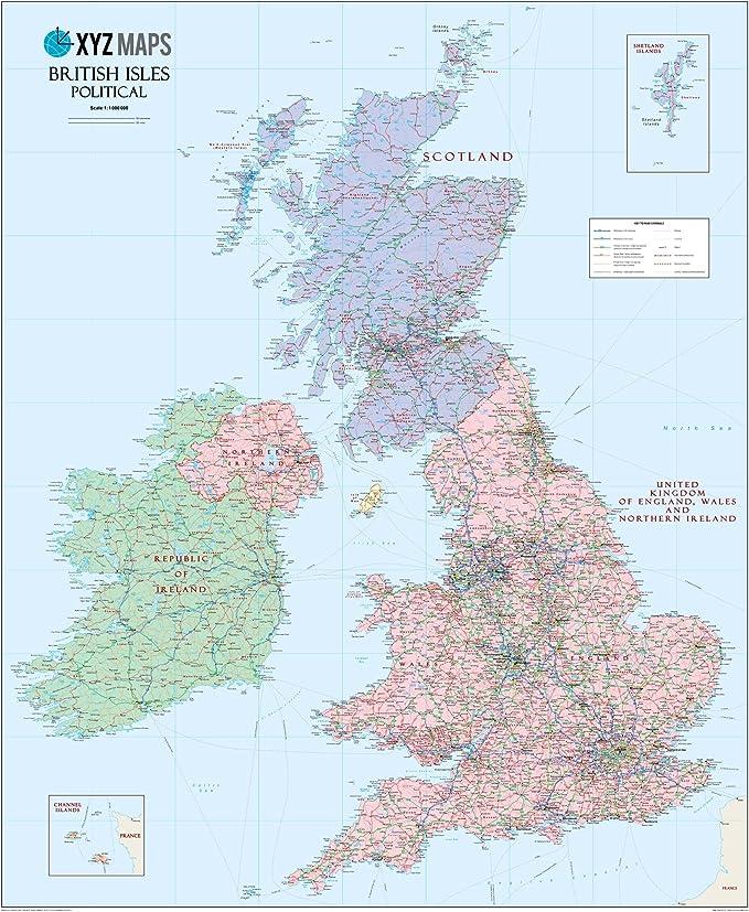 Mapa de pared política islas británicas escocesas - 90,2 x 110,5 cm laminado: Amazon.es: Oficina y papelería