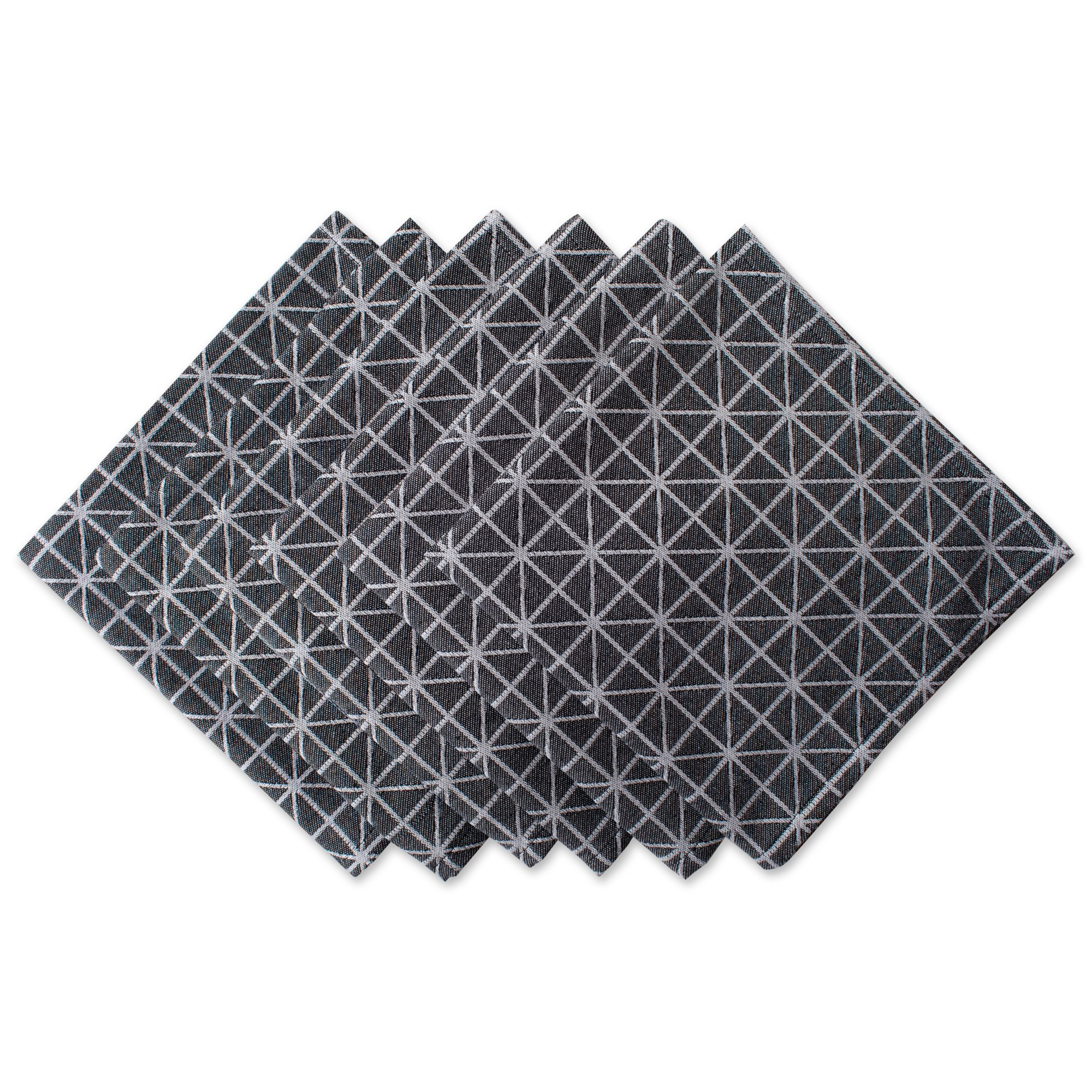 DII Oversized 20x20'' Cotton Napkin, Pack of 6, Black and White Triangle - Perfect for Special Occasions, Modern Décor, Catering Events, or Everyday Use