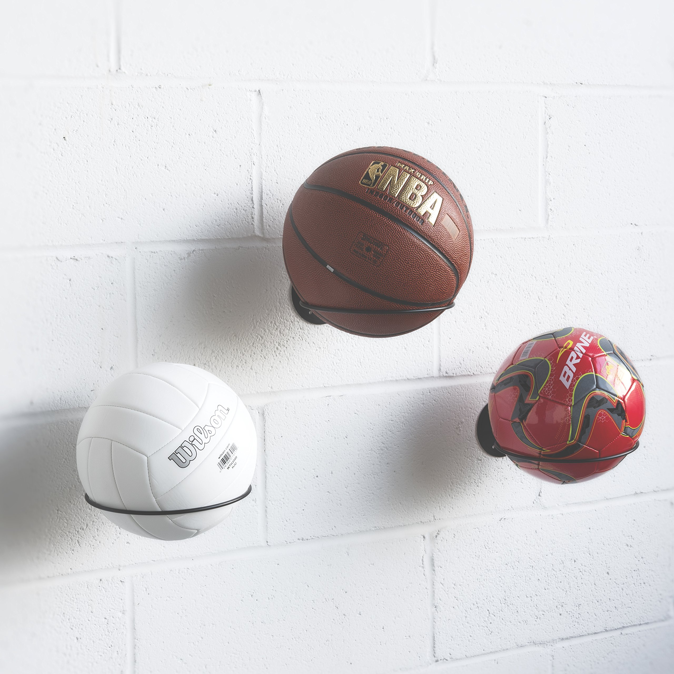 display rack itm balls sports soccer ball holder volleyball wall mounted basketball