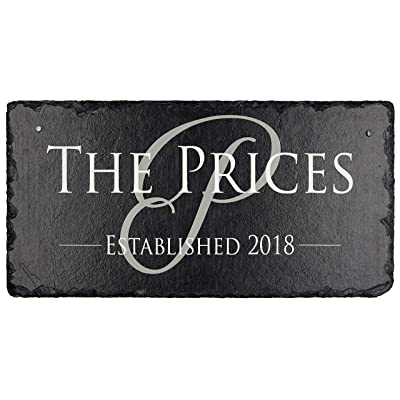 """Sassy Squirrel Beautifully Handcrafted and Customizable Slate Home Address Plaque (12""""x6"""" or 18""""x8"""") Personalized House Sign with and mounting Hardware. Improve The Curb Appeal of Your Property : Garden & Outdoor"""