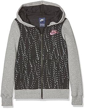 Nike G NSW HDY FZ Aop3 Sudadera, Niñas, Negro dk Grey Heather/Black/Hyper Pink, L: Amazon.es: Deportes y aire libre