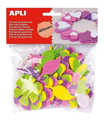 db64bda044e APLI - Bolsa formas EVA adhesiva purpurina formas flor
