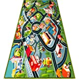 """Kids Carpet Playmat Rug - Fun Carpet City Map for Hot Wheels Track Racing and Toys - Floor Mats for Cars for Toddler Boys -Bedroom, Playroom, Living Room Game Play Mat for Little Children - 60"""" x 32"""""""