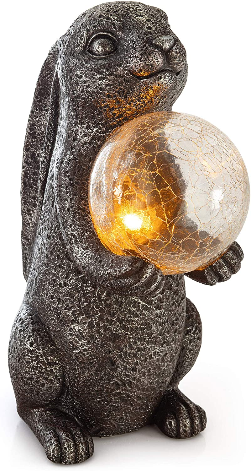 VP Home Mystical Rabbit Solar Powered Outdoor Decor Garden Light with Flickering LED Crackled Glass Globe