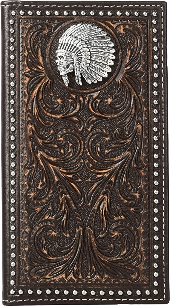 Ariat Western Wallet Mens Indian Chief Skull Brown