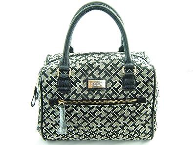 2bbd6011c709 Tommy Hilfiger Handbag, Signature Jacquard Bowler Satchel (Black)