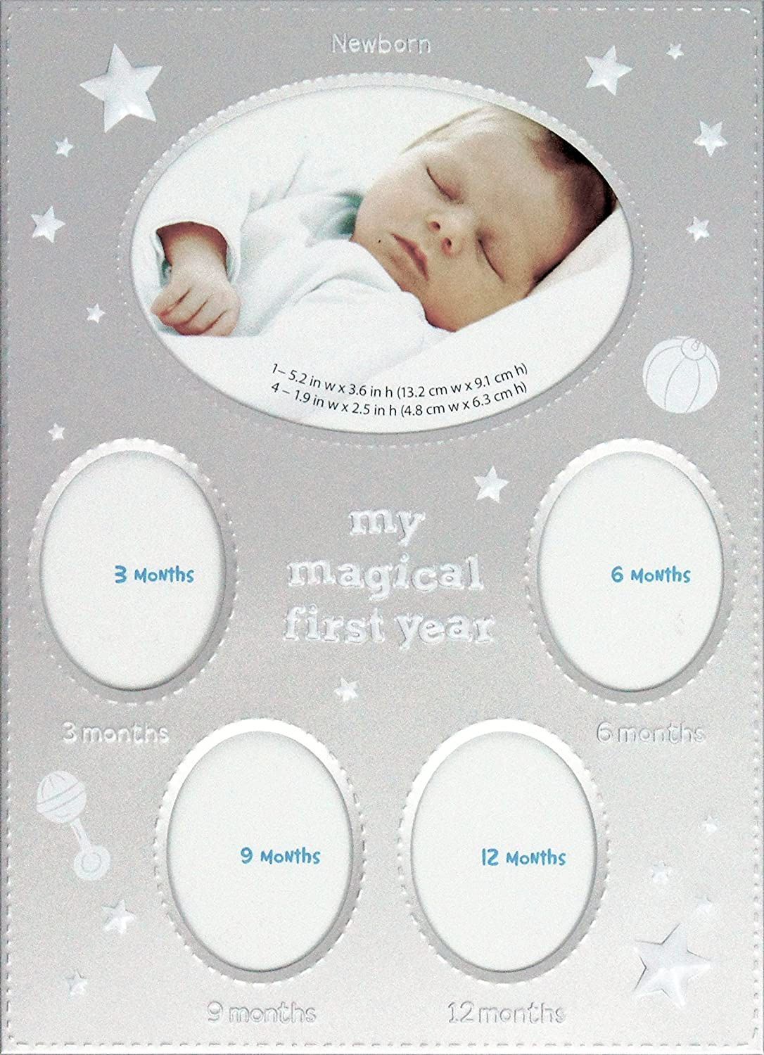 BabyRice My Magical First Year Photo Timeline Stage Frame (Silver White) B00SBNUNZA